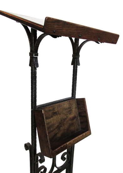 Wrought Iron Podium Wooden Nickel Antiques
