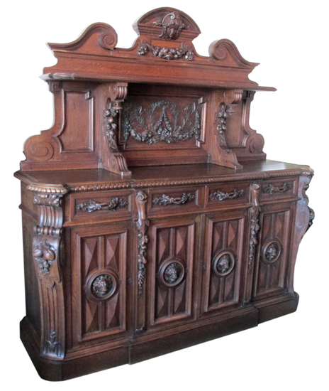 Carved European Sideboard - Antique Furniture - Wooden Nickel Antiques