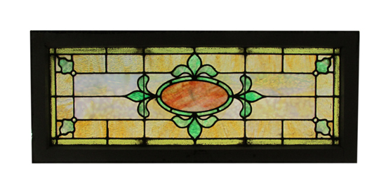 Stained Glass Transom Window Wooden Nickel Antiques