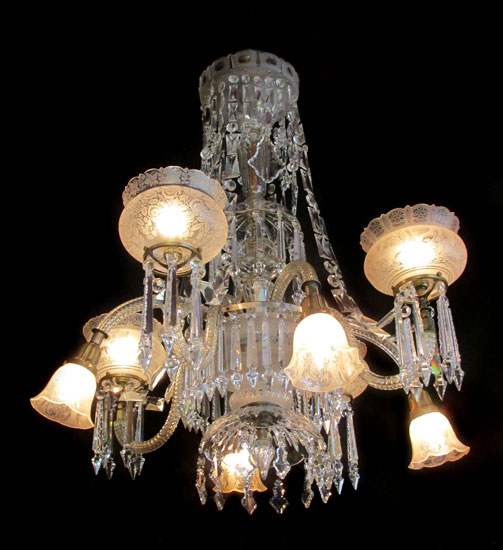 Gas & Electric Crystal Chandelier - Antique Lighting & Chandeliers - Wooden Nickel Antiques