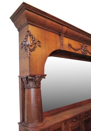 Single Arched Oak Back Bar Wooden Nickel Antiques