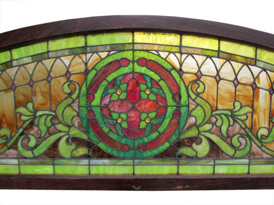 Large Arched Stained Glass Window Wooden Nickel Antiques