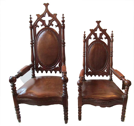 Pair of Gothic Chairs - Pair Of Gothic Chairs - Wooden Nickel Antiques