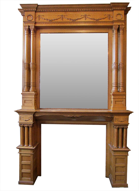 Large Triple Column Oak Mantel