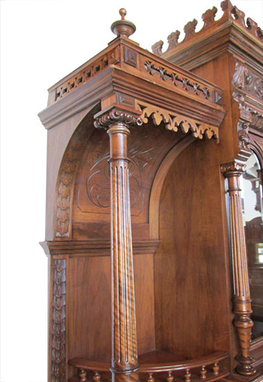 Carved Walnut European Buffet Wooden Nickel Antiques
