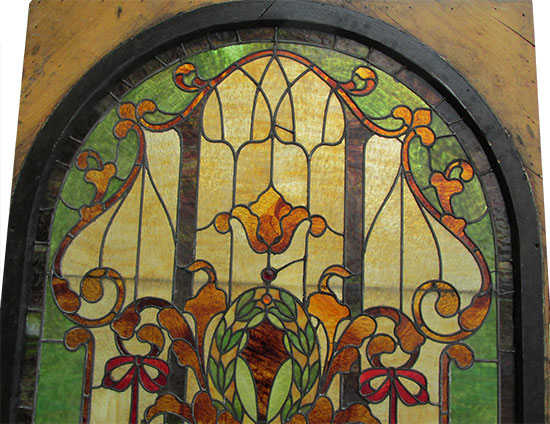 Arched Stained Glass Landing Window Wooden Nickel Antiques