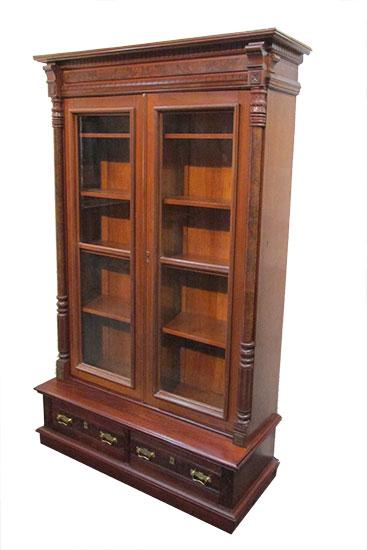 Two Door Walnut Bookcase 1 400