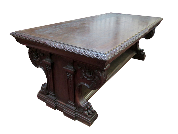 Carved Mahogany Library Table. Antique Furniture   Wooden Nickel Antiques