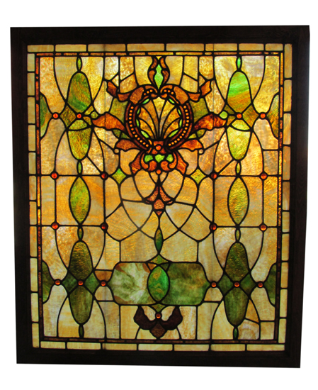 Large Stained Glass Window With 50 Amber Jewels Wooden