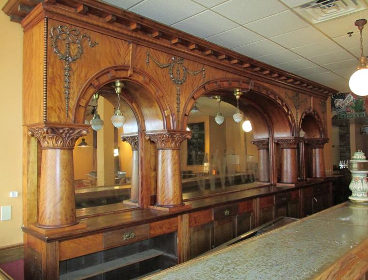 Brunswick Mahogany 20′ Triple Arch Front And Back Bar
