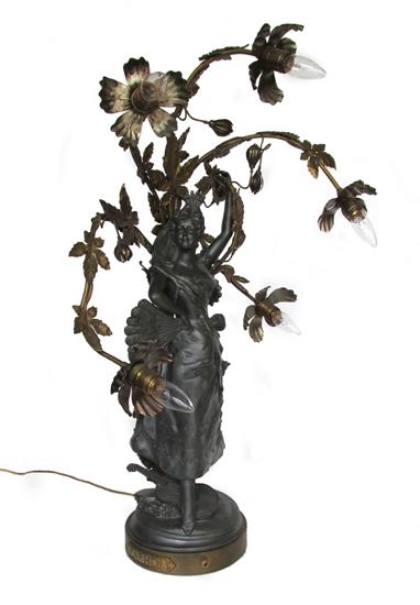 Art Nouveau Lady Lamp Wooden Nickel Antiques