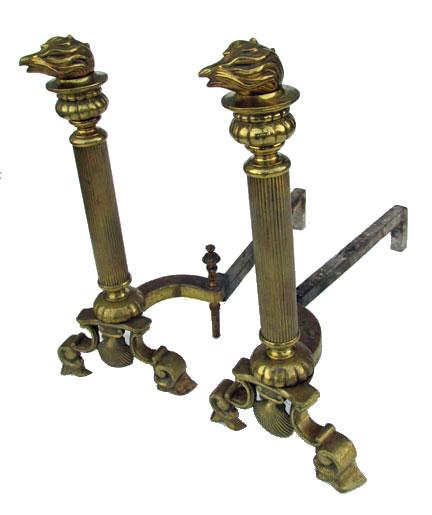Cast Brass Andirons