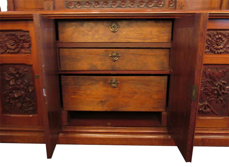 Cincinnati Art Carved Walnut Sideboard Wooden Nickel