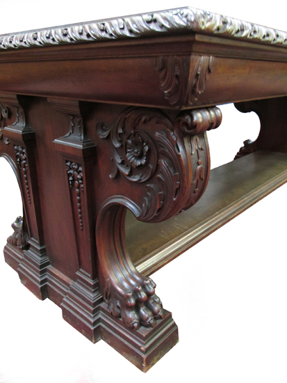 Carved Mahogany Library Table