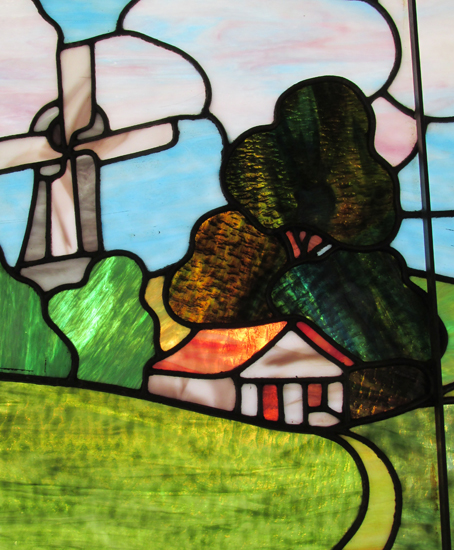 Stained Glass Window With Windmill
