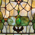 Large Stained Glass Window With 50 Amber Jewels
