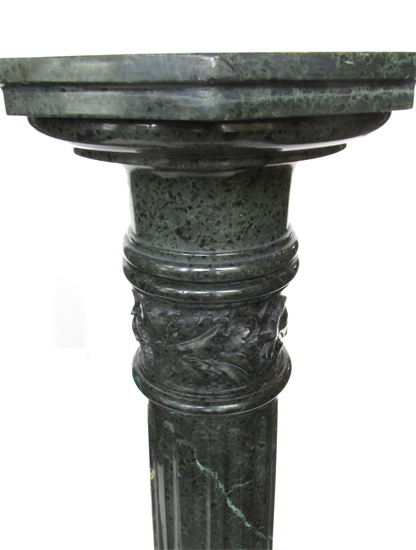 Two Green Marble Pedestals