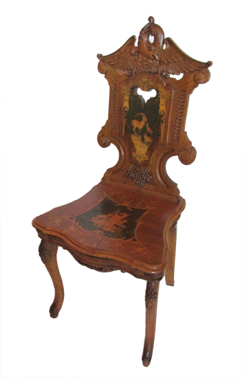 Small Carved Inlaid Musical Chair