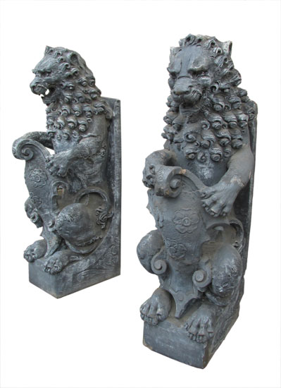 Large Cast Lion Statues
