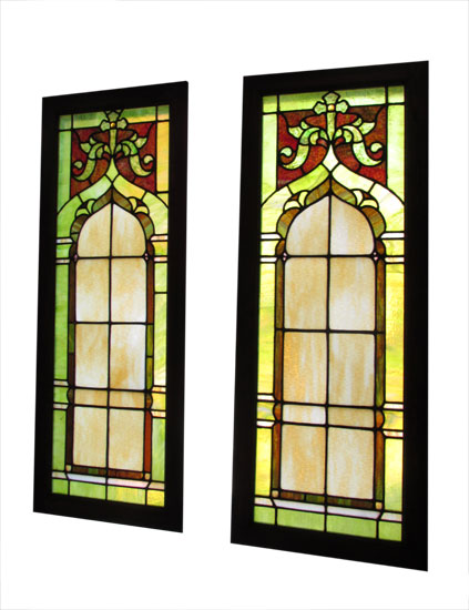 Pair Of Church Stained Glass Windows