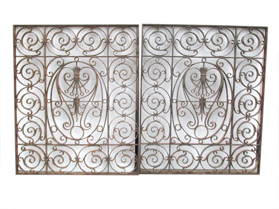 Two Ornate Iron Grills