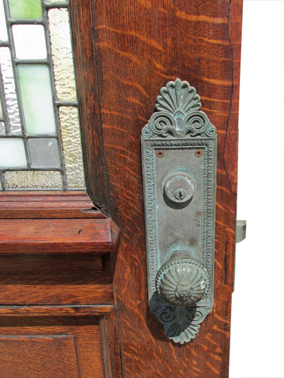 Oak Entry Door With Stained Glass