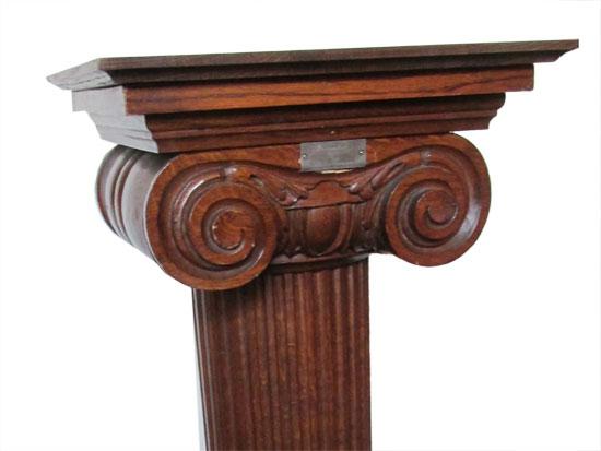 Fluted Oak Pedestal Wooden Nickel Antiques