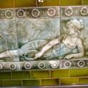Large Oak Mantel With Tiles