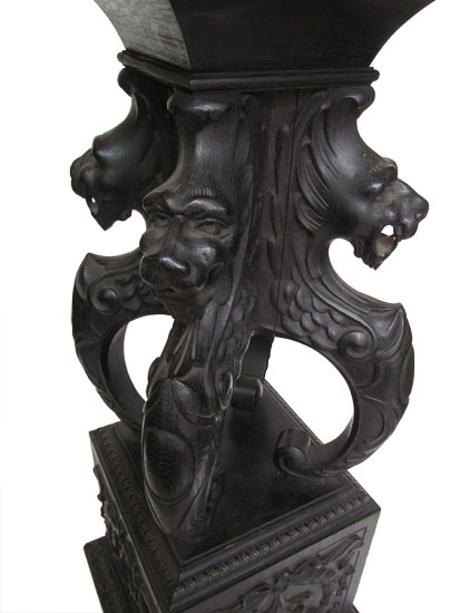Carved Pedestal With Lions Heads