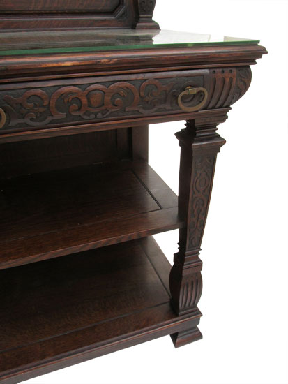 Oak Server With Glass Top