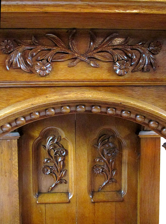 Carved Oak Pulpit Wooden Nickel Antiques
