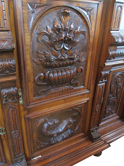 Carved Walnut European Buffet Wooden Nickel Antiques