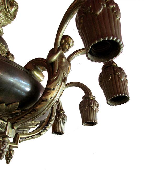 Brass Neoclassical Chandelier