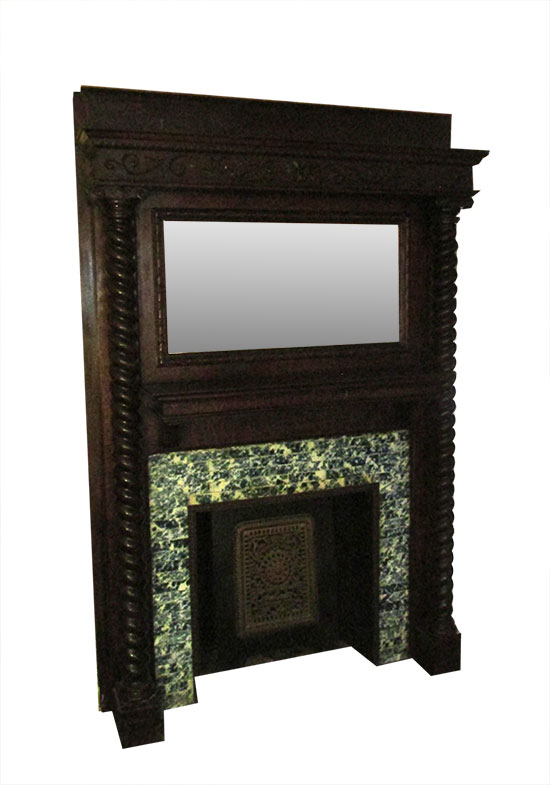 Full Mantel with Spiral Columns