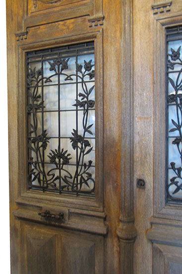 Pair Oak Entrance Doors Wooden Nickel Antiques