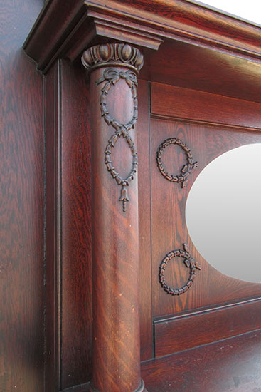 Oak Full Mantel With Oval Mirror