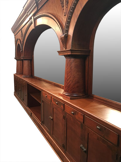 Mahogany Triple Arch Back Bar Wooden Nickel Antiques