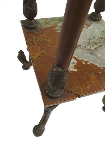 Amber onyx and brass pedestal
