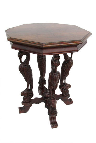 Carved Octagon Side Table
