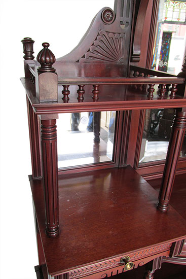 Nice Curio Etagere Cabinet Wooden Nickel Antiques