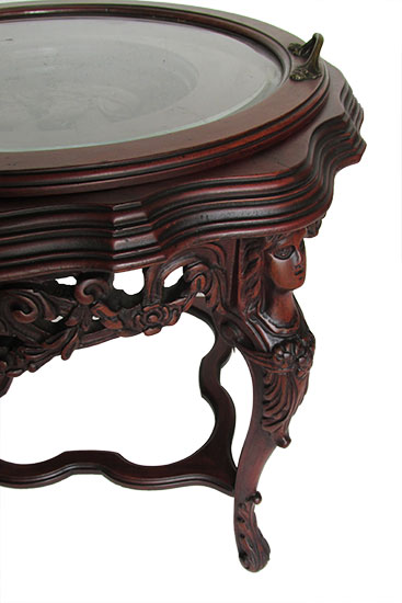 Round Carved Side Table
