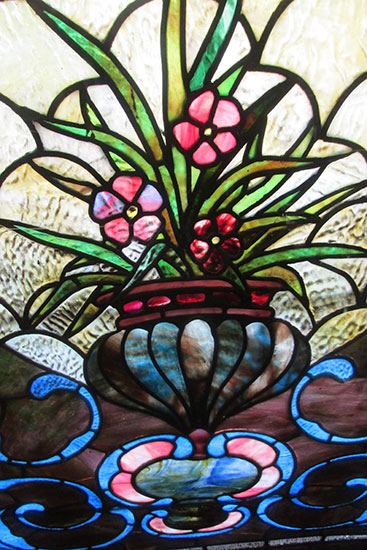 Large Stained Glass Floral Window