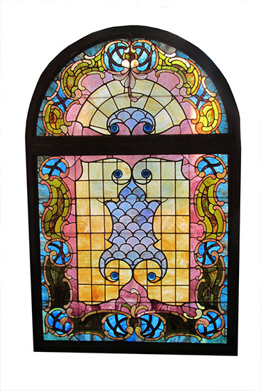 Arch Top Stained Glass Window Wooden Nickel Antiques