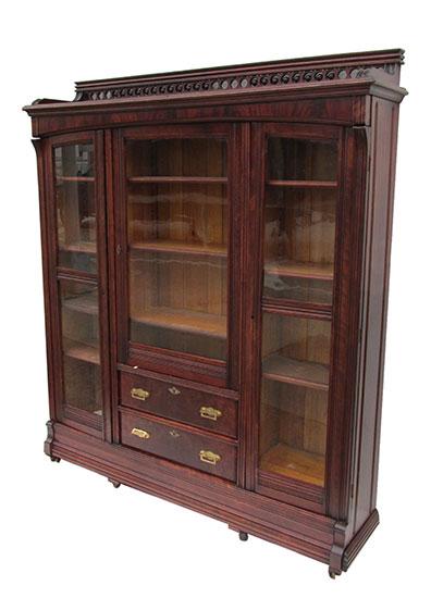 Three Door Bookcase Wooden Nickel Antiques
