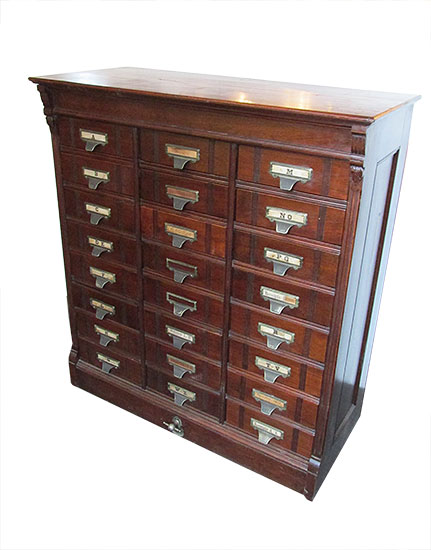 Walnut Flat File Cabinet