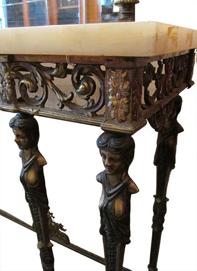 Brass Console With Mirror