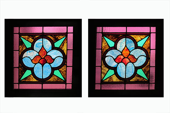 Set Of Small Stained Gl Windows
