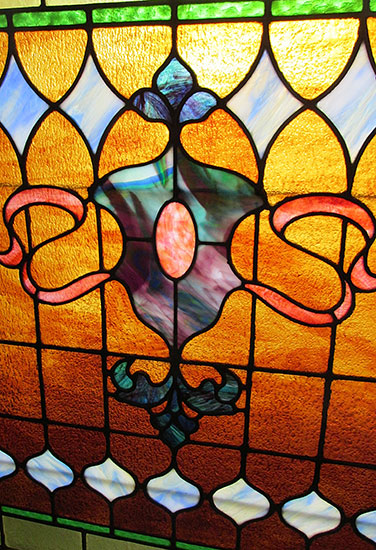 Victorian Stained Glass Window Wooden Nickel Antiques