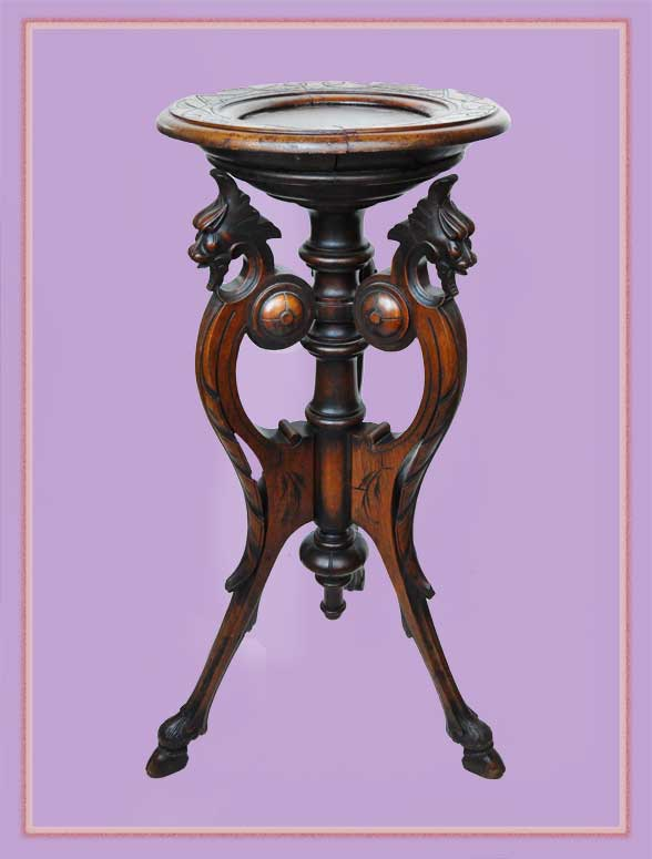 Carved Walnut Pedestal, with Griffin Accents