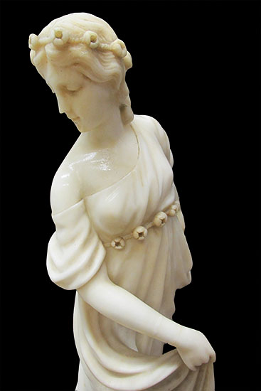 Marble Lady Statue Wooden Nickel Antiques